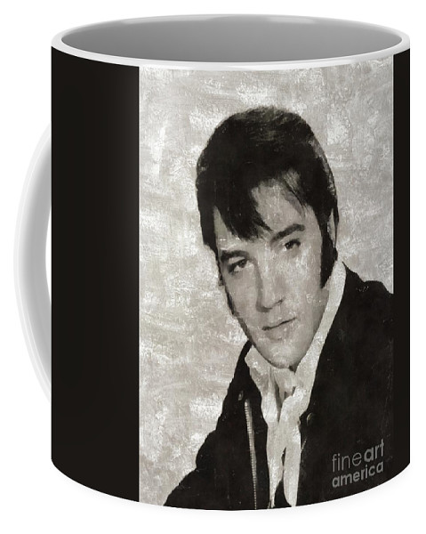 Music Coffee Mug featuring the painting Elvis Presley, Legend by Mary Bassett
