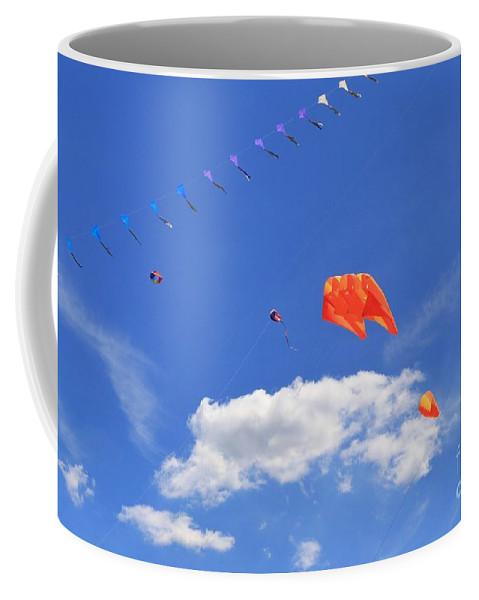 Rainbow Coffee Mug featuring the photograph Flying Kite Festival by Douglas Sacha