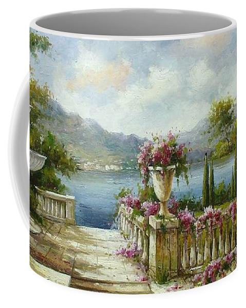 Castles Coffee Mug featuring the painting Italian Historical Villas by Lucio Campana