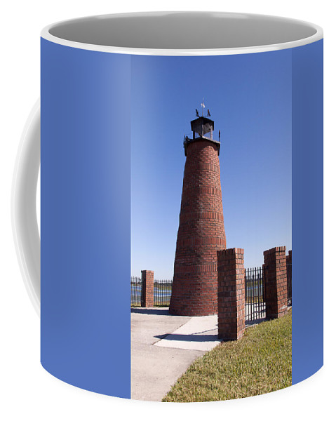 Lake Coffee Mug featuring the photograph Lighthouse On Lake Toho At Kissimmee In Florida by Allan Hughes