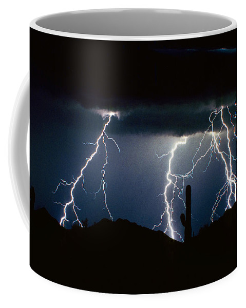 Landscape Coffee Mug featuring the photograph 4 Lightning Bolts Fine Art Photography Print by James BO Insogna