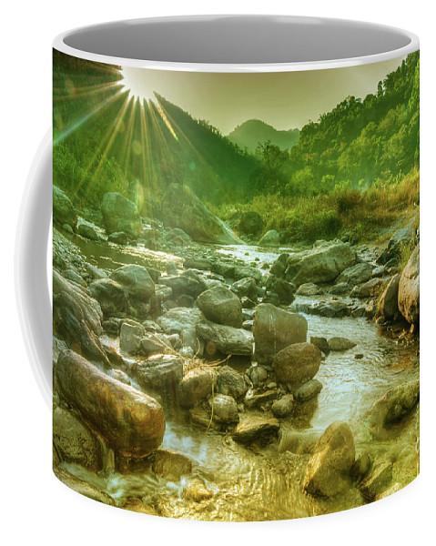 Reshi Coffee Mug featuring the photograph Nice River Water Flowing Through Rocks At Dawn by Rudra Narayan Mitra