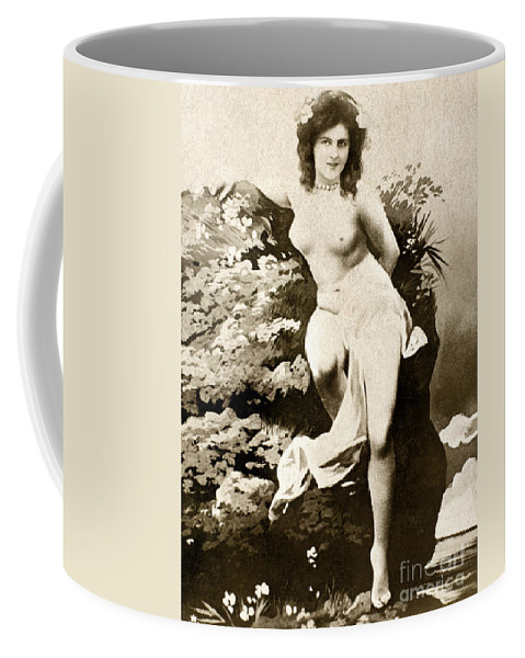 1900 Coffee Mug featuring the painting Nude Posing, C1900 by Granger