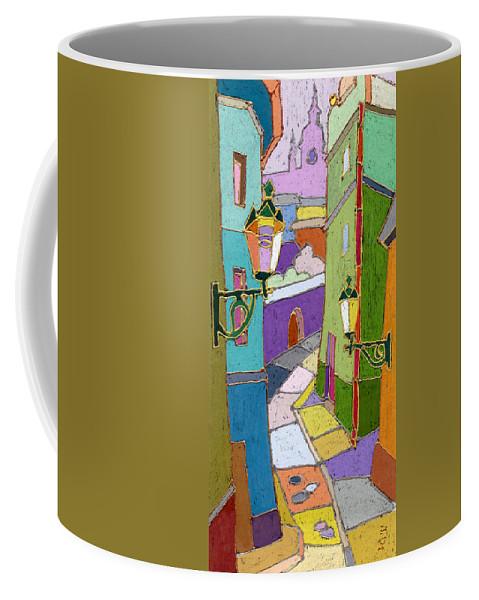 Pastel Coffee Mug featuring the painting Prague Old Street by Yuriy Shevchuk