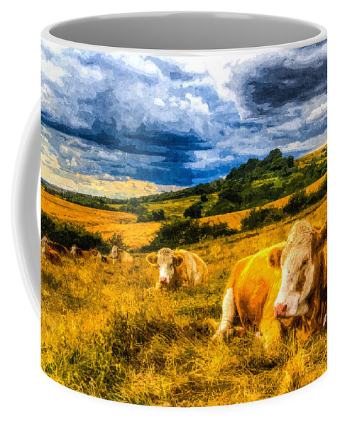Cows Coffee Mug featuring the photograph Resting Cows Art by David Pyatt