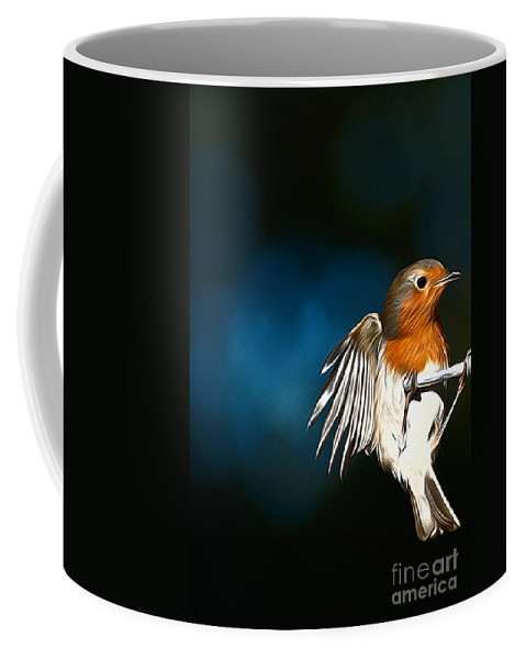 Robin Bird Birds Robins Side View Flight Flying Portrait Coffee Mug featuring the photograph Robin by Andrew Michael