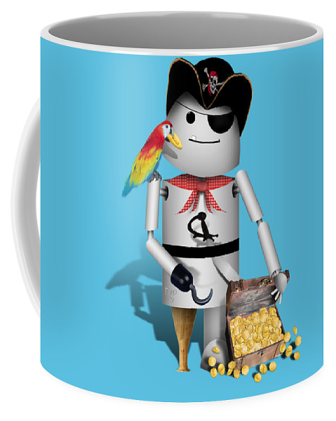 Gravityx9 Coffee Mug featuring the mixed media Robo-x9 The Pirate by Gravityx9 Designs