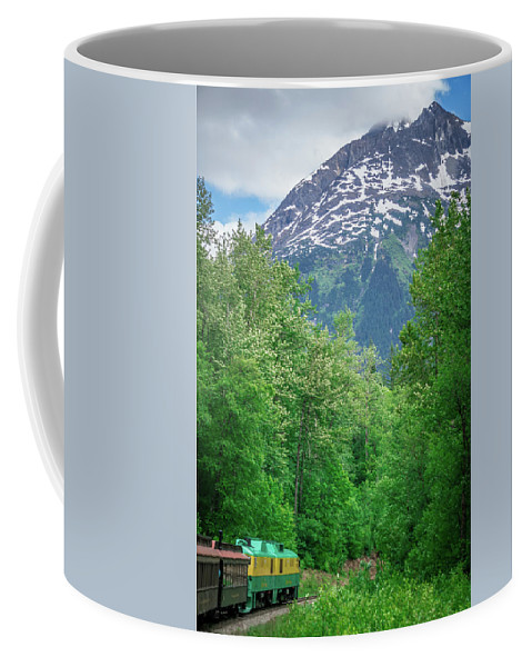White Coffee Mug featuring the photograph Scenic Train From Skagway To White Pass Alaska by Alex Grichenko