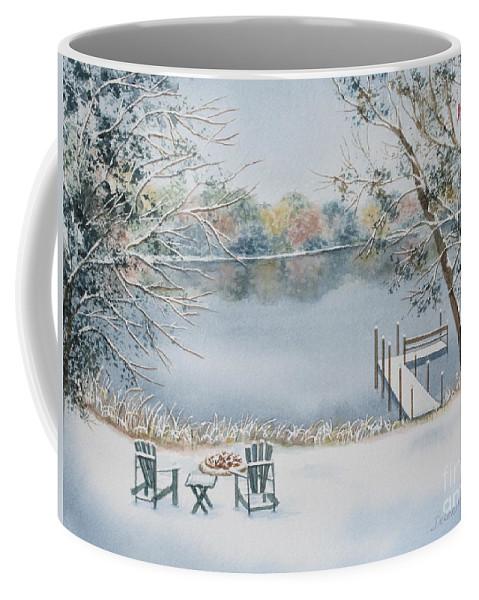 Lake Coffee Mug featuring the painting 4 Seasons-winter by Deborah Ronglien