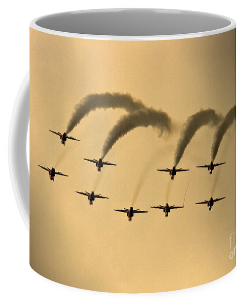 Red Arrows Coffee Mug featuring the photograph The Red Arrows by Angel Ciesniarska