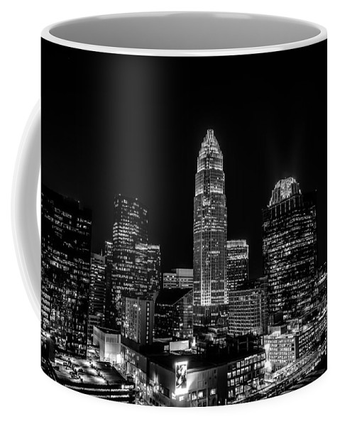 Aerial Coffee Mug featuring the photograph View Of Charlotte Skyline Aerial At Sunset by Alex Grichenko
