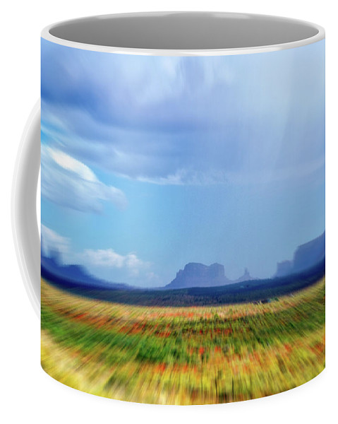 Monument Valley Coffee Mug featuring the mixed media 4 Wheeling With The Storm Cell Approaching Monument Valley 06 4 by Thomas Woolworth