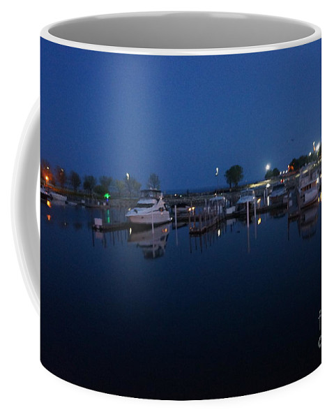Racine Coastal Seascape - Michigan Lake In Wisconsin By Adam Asar Coffee Mug featuring the painting Racine Coastal Seascape - Michigan Lake In Wisconsin By Adam Asar by Celestial Images