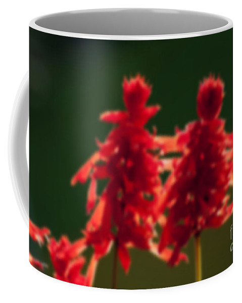 Red Coffee Mug featuring the photograph Blurred Seasonal Flower With Dark Background by Rudra Narayan Mitra