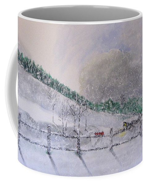 Snow Coffee Mug featuring the painting 5 Card Stud by Gary Smith