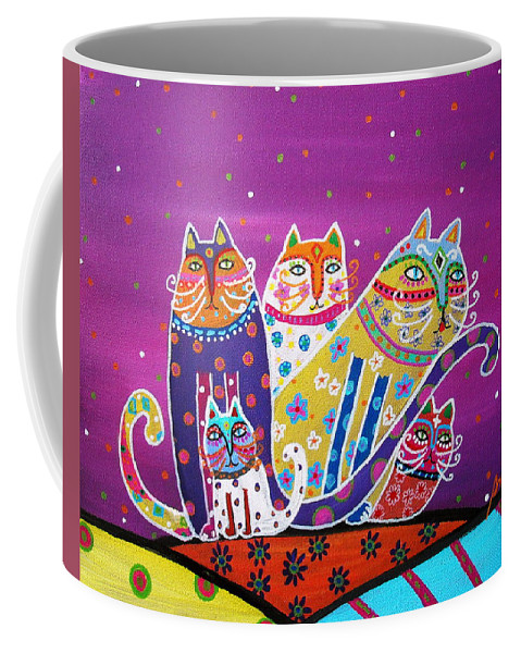 Cats Coffee Mug featuring the painting 5 Cats by Pristine Cartera Turkus