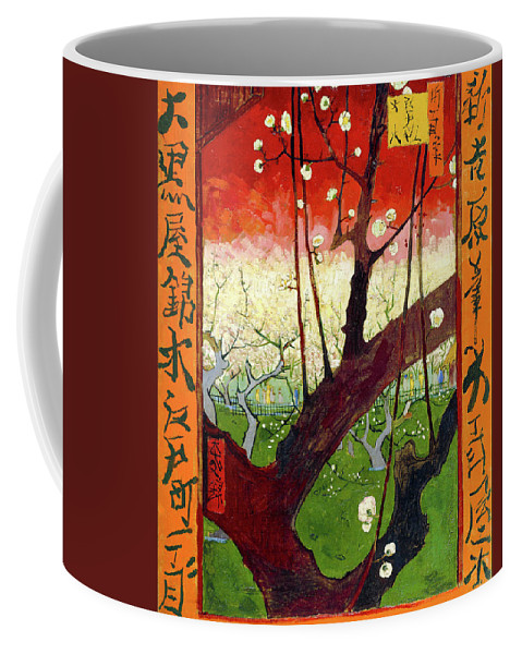 Vincent Van Gogh Coffee Mug featuring the painting Flowering Plum Tree by Vincent Van Gogh