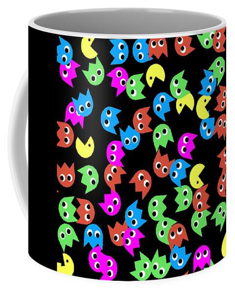 Monsters Coffee Mug featuring the digital art Game Monsters Seamless Generated Pattern by Miroslav Nemecek