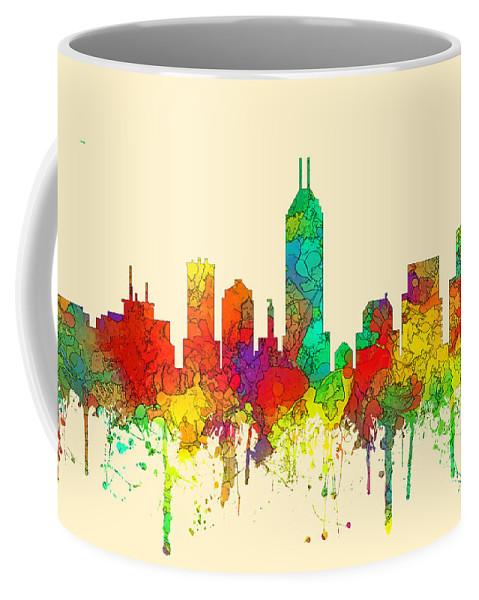 Indiana Indianapolis Skyline Coffee Mug featuring the digital art Indiana Indianapolis Skyline by Marlene Watson