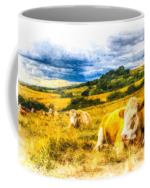 Cows Coffee Mug featuring the photograph Resting Cows Art by David Pyatt