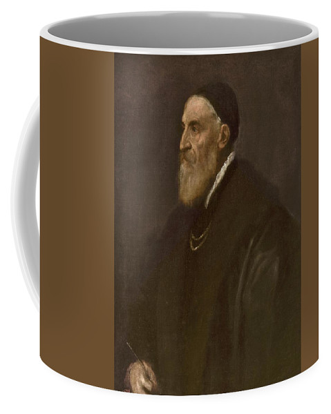 Self-portrait Coffee Mug featuring the painting Tiziano Vecellio Di Gregorio by MotionAge Designs