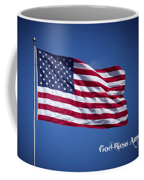 50 Stars Thirteen Stripes American Flag God Bless America Coffee Mug