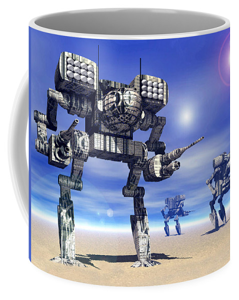 Science Fiction Coffee Mug featuring the digital art 501st Mech Trinary by Curtiss Shaffer