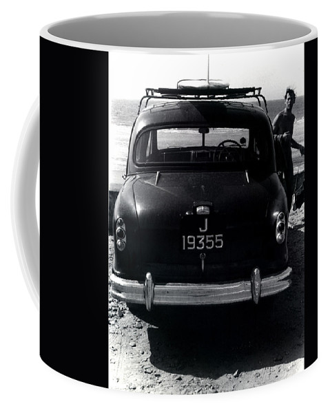Surf Coffee Mug featuring the photograph 50's Surfer by Charles Stuart