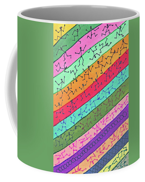 Abstract Coffee Mug featuring the drawing 51 Stickmen On Colors by Carl Deaville
