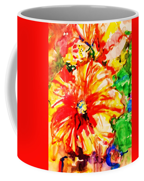 Flowers Hibiscus Coffee Mug featuring the painting Janas by B Janas