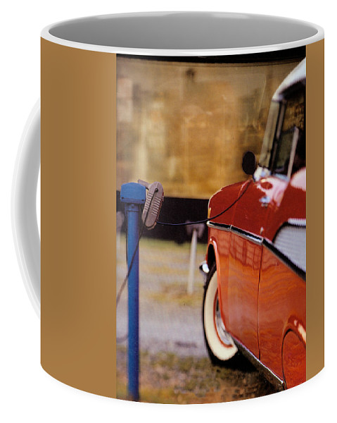 57 Coffee Mug featuring the photograph 57 Chevy At The Drive-in by Robert Ponzoni