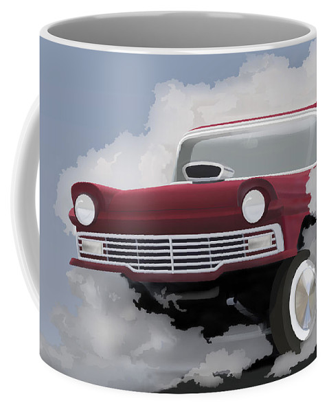 Ford Coffee Mug featuring the painting 57 Ford Gasser by MOTORVATE STUDIO Colin Tresadern