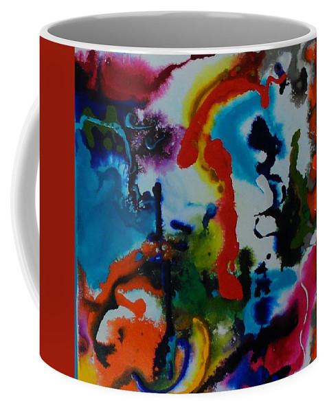 Teal Coffee Mug featuring the painting Splattt by Gail Goren
