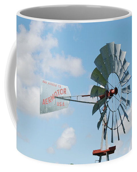 Blue Coffee Mug featuring the photograph Aermotor Windmill by Rob Hans