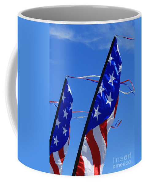 Rainbow Coffee Mug featuring the photograph Patriotic Flying Kite by Douglas Sacha
