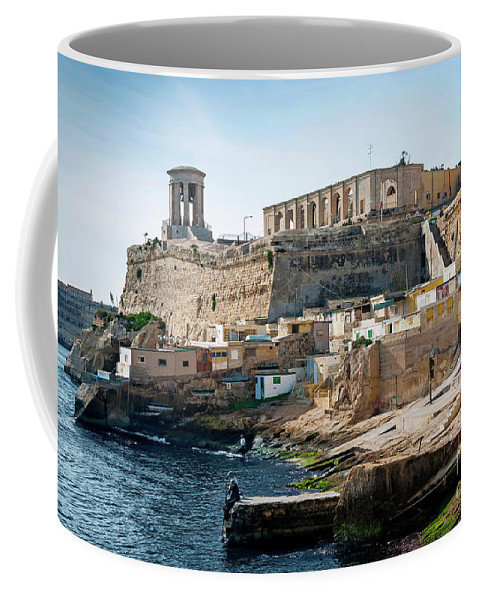 Ancient Coffee Mug featuring the photograph La Valletta Old Town Fortifications Architecture Scenic View In by Jacek Malipan