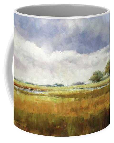 Landscape Coffee Mug featuring the painting Misty Landscape by Lucio Campana