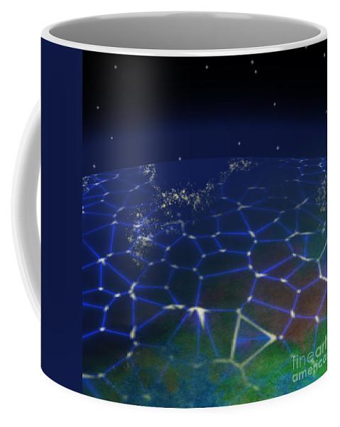 Abstract Coffee Mug featuring the digital art Network Planet by Miroslav Nemecek