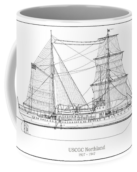 Coast Guard Coffee Mug featuring the drawing U.s. Coast Guard Cutter Northland by Jose Elias - Sofia Pereira