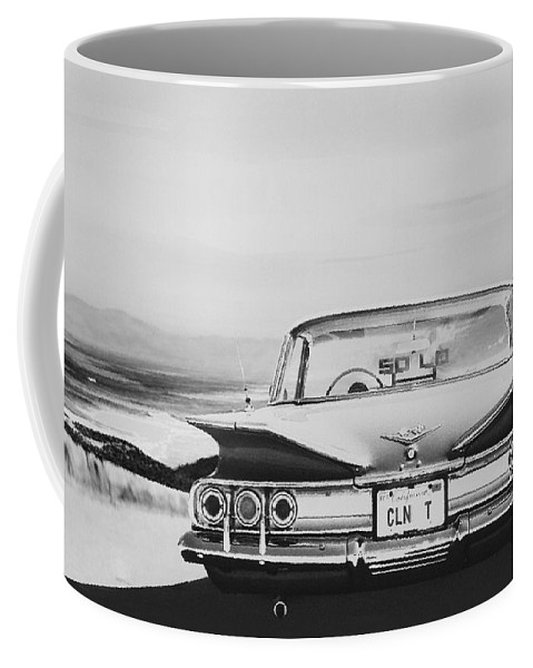 Lowrider Coffee Mug featuring the drawing 60 Impala Lowrider by MOTORVATE STUDIO Colin Tresadern