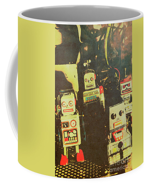 Cyborg Coffee Mug featuring the photograph 60s Cartoon Character Robots by Jorgo Photography - Wall Art Gallery