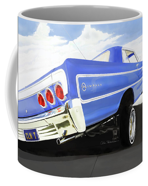 Lowrider Coffee Mug featuring the digital art 64 Impala Lowrider by Colin Tresadern