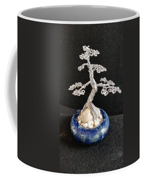 Bonsai Tree Coffee Mug featuring the photograph #66 Silver Lining Wire Tree Sculpture by Ricks Tree Art