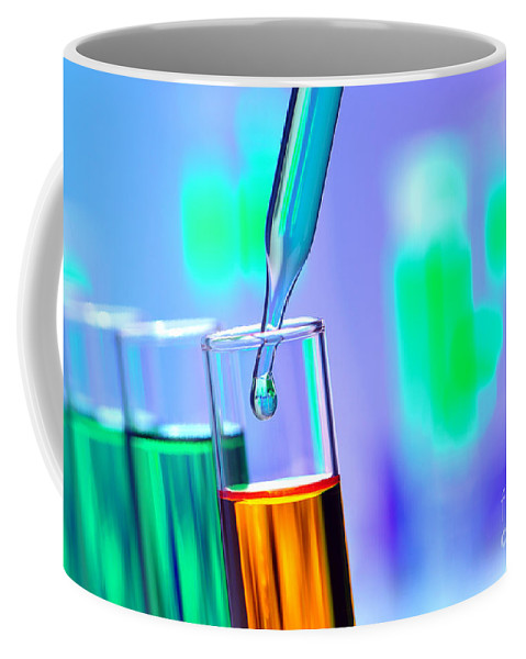 Chemistry Coffee Mug featuring the photograph Test Tubes In Science Research Lab by Olivier Le Queinec
