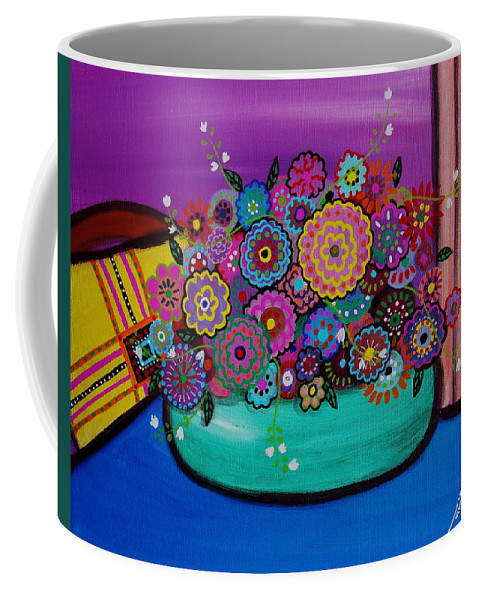 Prisarts Coffee Mug featuring the painting Blooms by Pristine Cartera Turkus