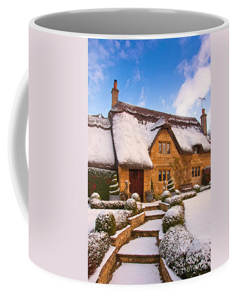 Cottage England Oil Art Artwork House Cottages Old English British Scenic Landscape Nobody Outdoors Snow Winter Winters Scene Coffee Mug featuring the photograph Cottage by Andrew Michael