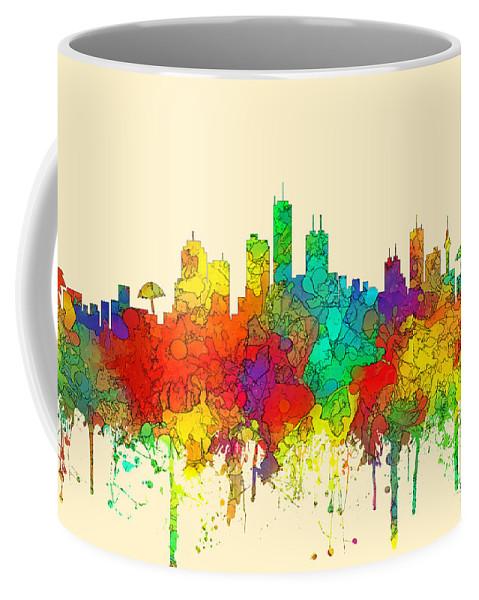 Honolulu Hawaii Skyline Coffee Mug featuring the digital art Honolulu Hawaii Skyline by Marlene Watson