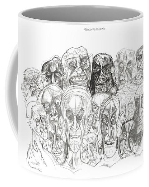 Marcio Pannunzio Coffee Mug featuring the drawing Naughty Portraits by Marcio Pannunzio