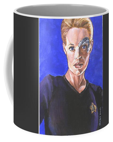 Jeri Ryan Coffee Mug featuring the painting 7 Of 9 by Bryan Bustard