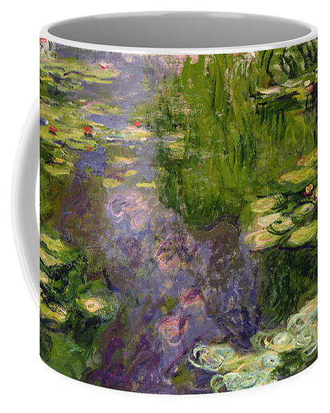 Nympheas; Water; Lily; Waterlily; Impressionist; Green; Purple Coffee Mug featuring the painting Waterlilies by Claude Monet